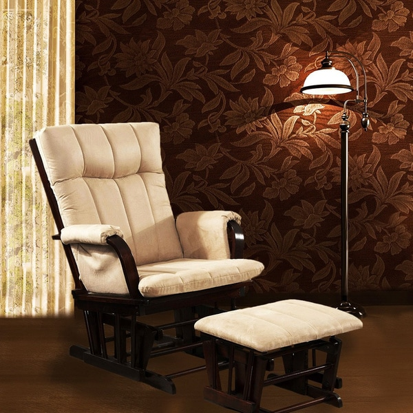 Artiva USA Home Deluxe Mocha Microfiber Cushion Glider Chair and Ottoman Set. Opens flyout.