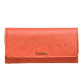 Fendi 'Elite' Orange Vitello Leather Continental Wallet