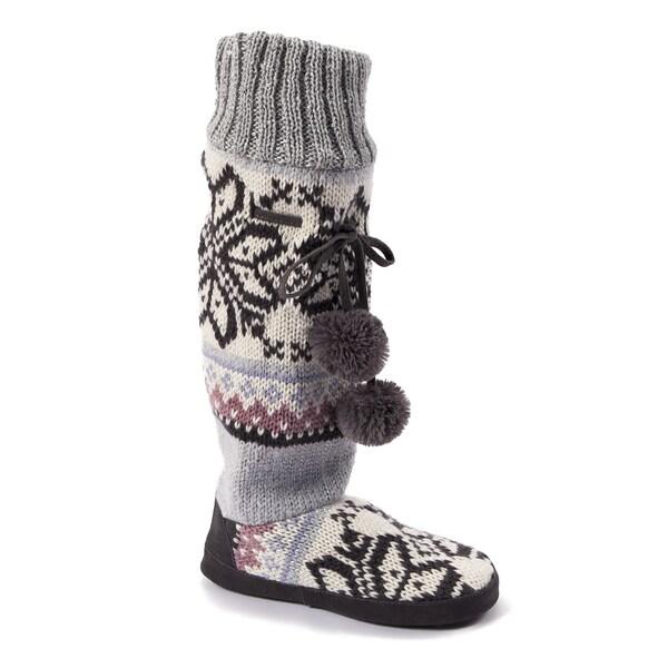 Muk Luks Women's 'Angie Star' Grey Snowflake Slipper Boots
