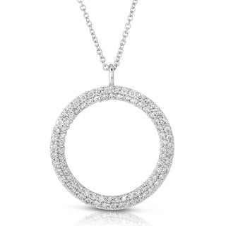 Eloquence 14k White Gold 7/8ct TDW Diamond Pave Circle Necklace