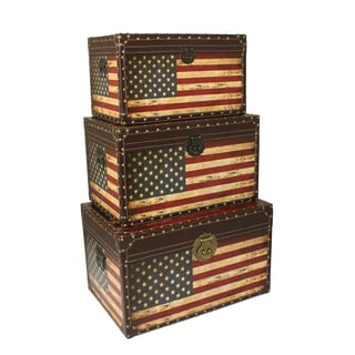 Antique American Flag Decorative Trunk Cases and Storage Accent Decor