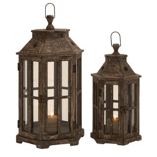 San Francisco Weathered Wood Hexagonal Lantern Set-of-2