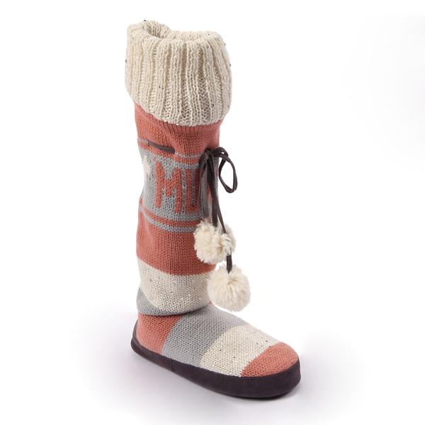 Muk Luk Women's 'Angie Love' Grey Sequence Knit Slipper Boots