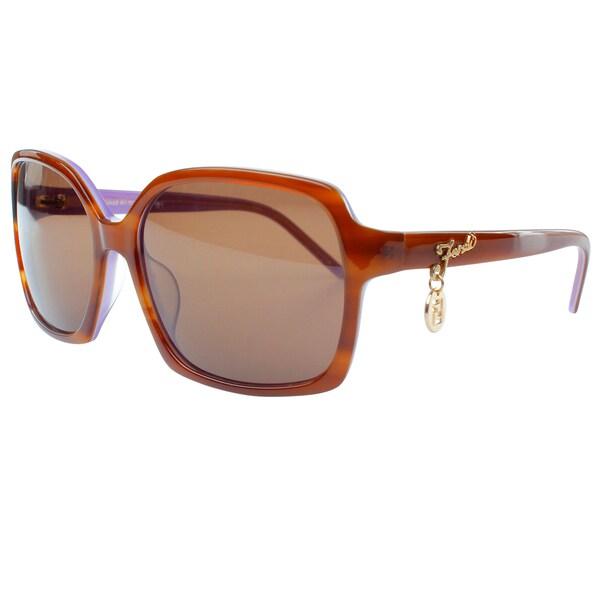 Fendi Women's 'Sun' Light Havana Round Sunglasses