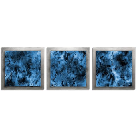 Belle 'Storm Essence' Layered Blue/Silver Metal Art - 12 x 38