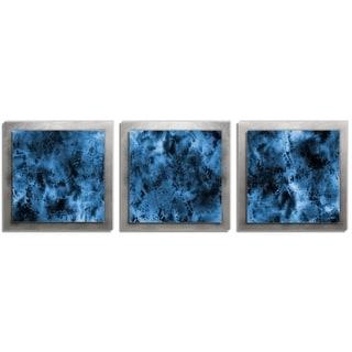 Belle 'Storm Essence' Layered Blue/Silver Metal Art - 12 x 38