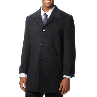 Pronto Moda Men's 'Ram' Charcoal Cashmere Blend Top Coat (More options available)