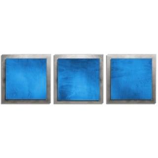 Belle 'Blue Essence' Layered Modern Metal Wall Art