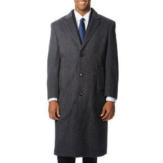 Pronto Moda Men's 'Harvard' Grey Herringbone Cashmere Blend Long Top Coat (Option: 38s)