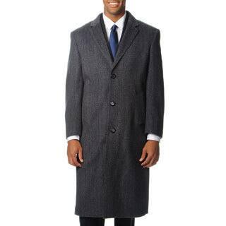 Pronto Moda Men's 'Harvard' Grey Herringbone Cashmere Blend Long Top Coat|https://ak1.ostkcdn.com/images/products/8441909/Pronto-Moda-Mens-Harvard-Grey-Herringbone-Cashmere-Blend-Long-Top-Coat-P15736734.jpg?impolicy=medium