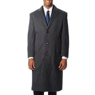 Pronto Moda Men's 'Harvard' Grey Herringbone Cashmere Blend Long Top Coat