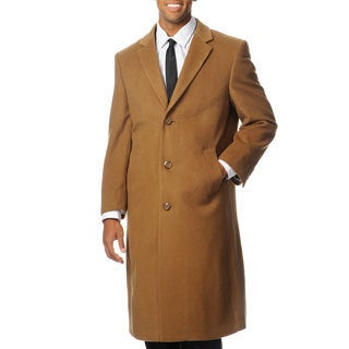 Pronto Moda Men's 'Harvard' Camel Cashmere Blend Long Top Coat (Option: 48r)