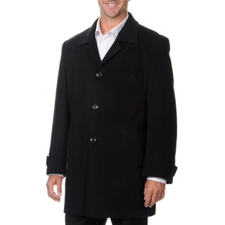 Montefino Men's 'Russel' Black Cashmere and Wool Blend Top Coat