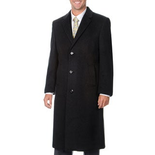 Pronto Moda Men's 'Harvard' Charcoal Cashmere Blend Long Top Coat (Option: 46r)