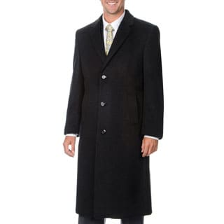 Pronto Moda Men's 'Harvard' Charcoal Cashmere Blend Long Top Coat