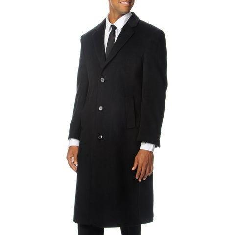Cianni Cellini Men's Harvard Black Wool Blend Long Top Coat