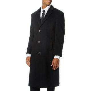 Cianni Cellini Men's 'Harvard' Black Wool Blend Long Top Coat ...