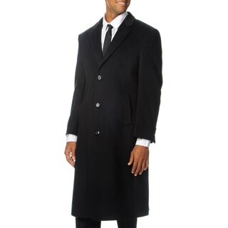 Cianni Cellini Men's 'Harvard' Black Wool Blend Long Top Coat (Option: 52r)