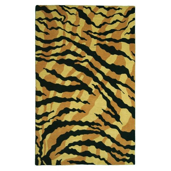 Safari Gold/ Black Wool Area Rug (5' x 8')
