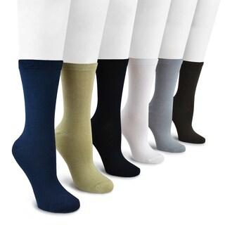 MUK LUKS Women's 6-pair Pack Rayon from Bamboo Crew Socks
