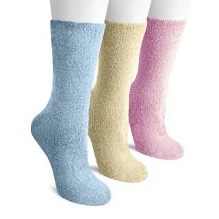 MUK LUKS Women's Three-Pair Pack Polyester Crew Aloe Socks