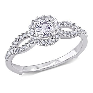 Miadora 14k White Gold Created White Sapphire and 1/5ct TDW Diamond Ring (G-H, I1-I2)