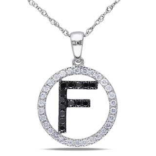 Miadora 14k White Gold 2/5ct TDW Black and White Diamond 'F' Necklace (G-H, SI1-SI2)