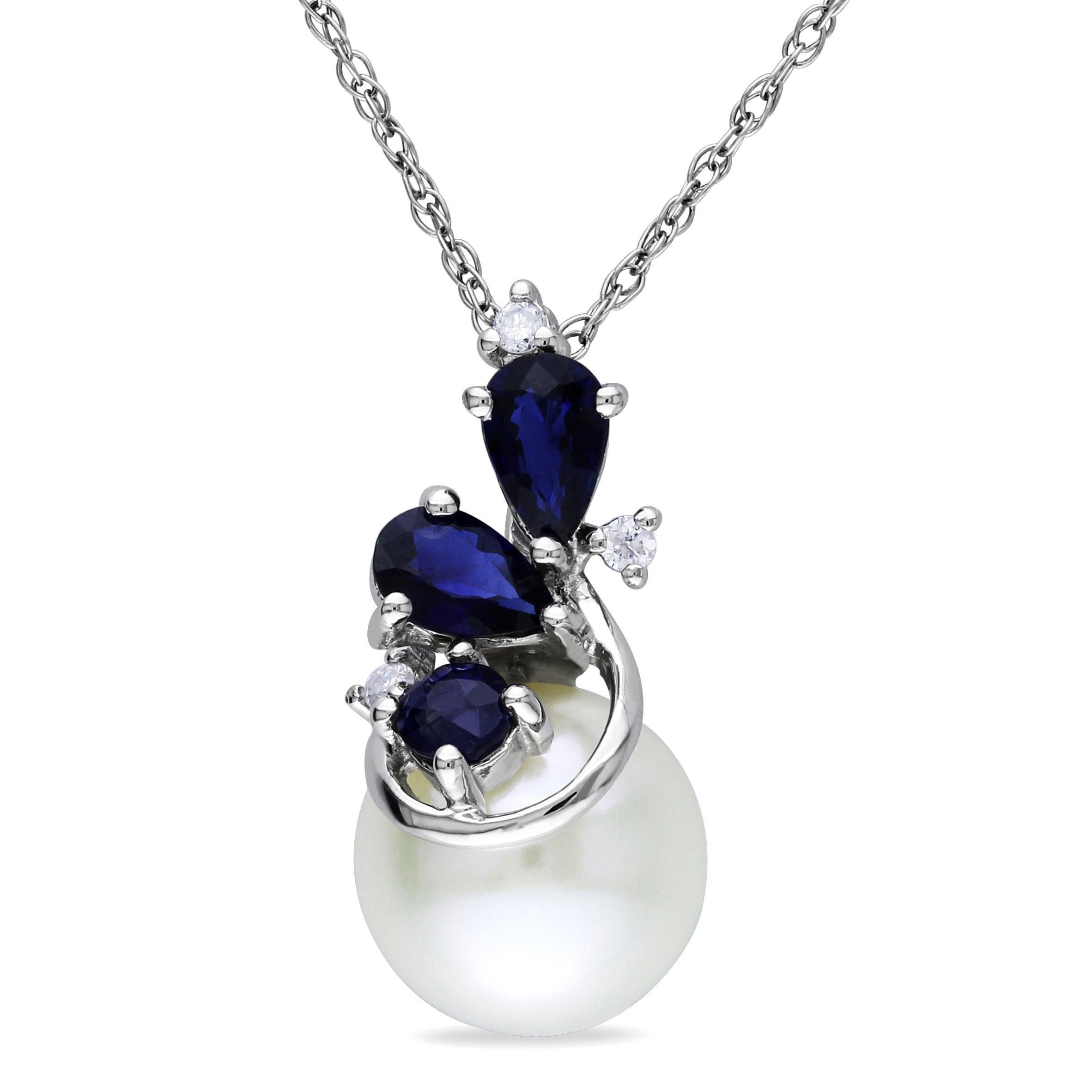 Miadora 10k White Gold Cultured Freshwater Pearl, Sapphir...