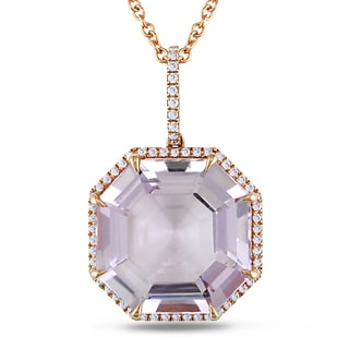 Miadora 18k Rose Gold Amethyst and 1/4ct TDW Diamond Necklace (G-H, SI1-SI2)