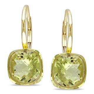Miadora 14k Yellow Gold Lemon Quartz Dangle Earrings