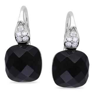 Miadora 14k White Gold Black Onyx and 1/5ct TDW Diamond Earrings (G-H, SI1-SI2)