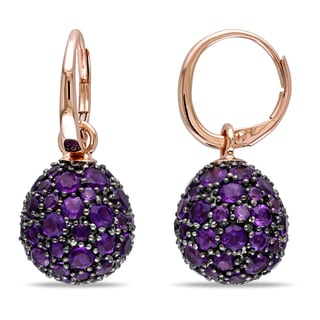 Miadora 14k Rose Gold Amethyst Dangle Earrings