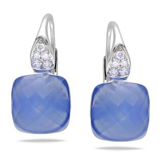 Miadora 14k White Gold Blue Chalcedony 1/5ct TDW Diamond Earrings (G-H, SI1-SI2)