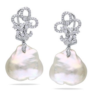 Miadora 14k White Gold White Pearl 3/4ct TDW Diamond Earrings (G-H, SI1-SI2) (13-13.5 mm)