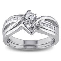 Miadora Sterling Silver 1/4ct TDW Princess and Round-cut Diamond Split Shank Bridal Ring Set