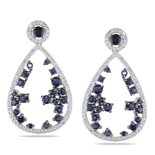 Miadora Signature Collection 14k White Gold Sapphire and 2/5ct TDW Diamond Earrings (G-H, I1-I2)