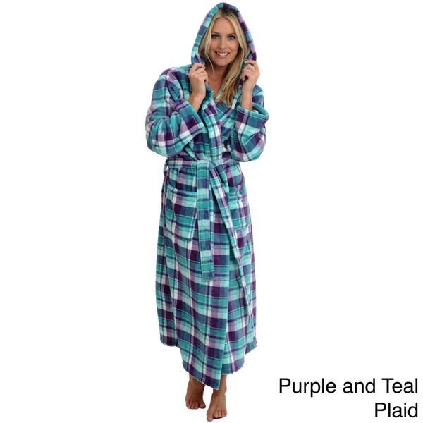 Del Rossa Women's Full Length Hooded Fleece Robe