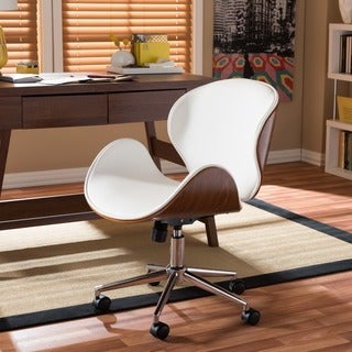 Baxton Studio Bruce Walnut Wood Modern Office Chair