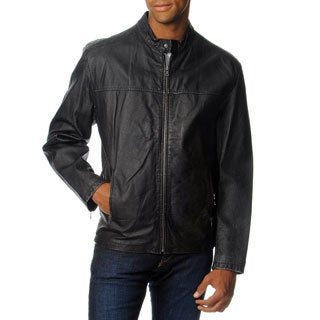 Excelled Men's Leather Stand Collar with Stitching Jacket