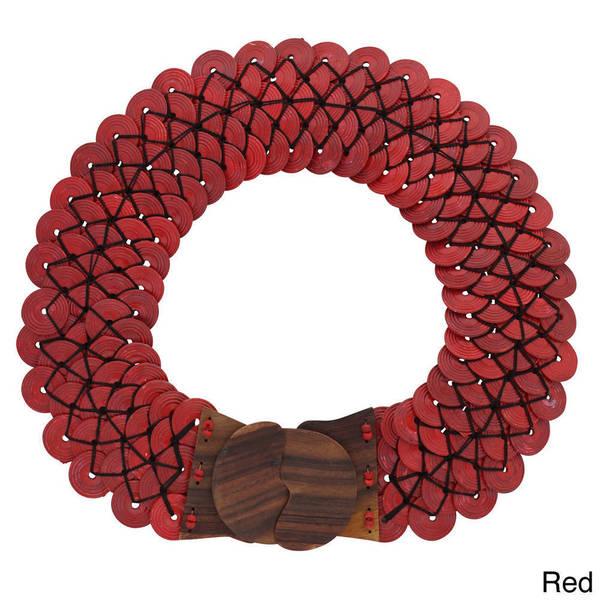 Handmade 1 World Sarongs Women's Interlocking Disc Belt and Wooden Buckle (Indonesia)