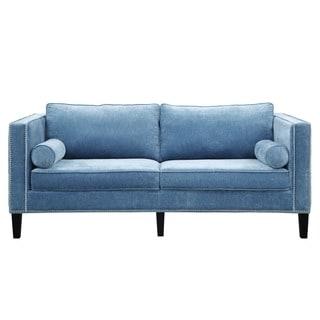 Cooper Blue Velvet Sofa