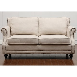 Lovely Camden Beige Linen Loveseat