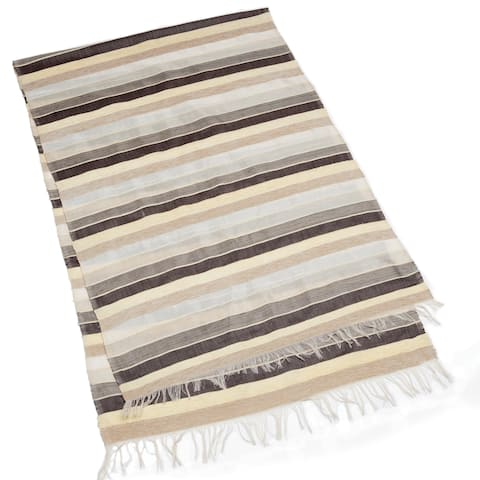 Handmade Moroccan Sahara Stripe Table Runner (Morocco)