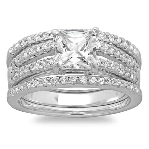 Roberto Martinez Silver Princess CZ 3-piece Bridal-style Ring Set
