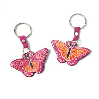 Handmade Set of Two Cruelty-free Shanti Leather Butterfly Keychains (India)