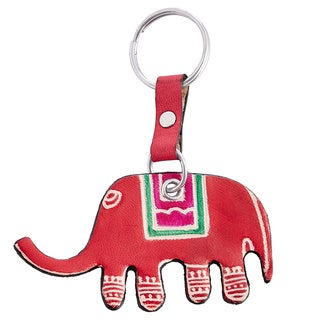 Handmade Set of Two Cruelty-free Shanti Leather Elephant Keychains (India)