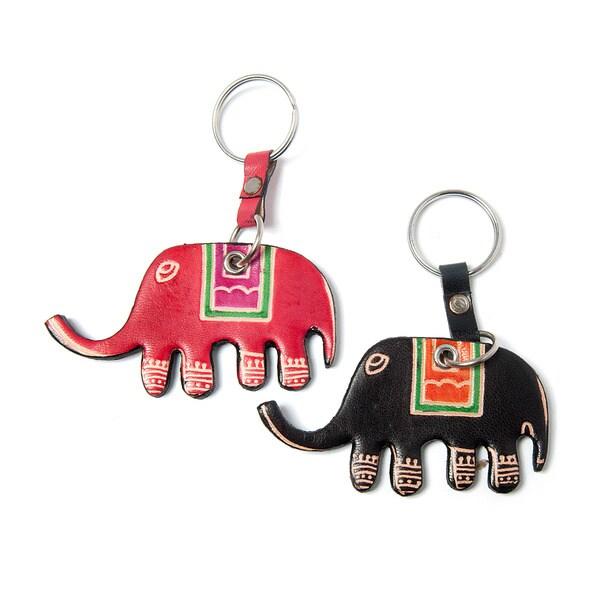 Set of Two Cruelty-free Shanti Leather Elephant Keychains (India)