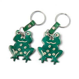 Handmade Set of Two Cruelty-free Shanti Leather Frog Keychains (India)