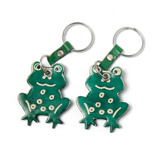 Set of Two Cruelty-free Shanti Leather Frog Keychains (India)