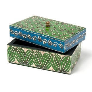 Hand-painted Green Mango Wood Medium Box and Lid (India)